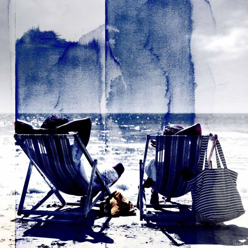 Parvez Taj Lifes a Beach Art Print on Premium Canvas 24 x 24 Home
