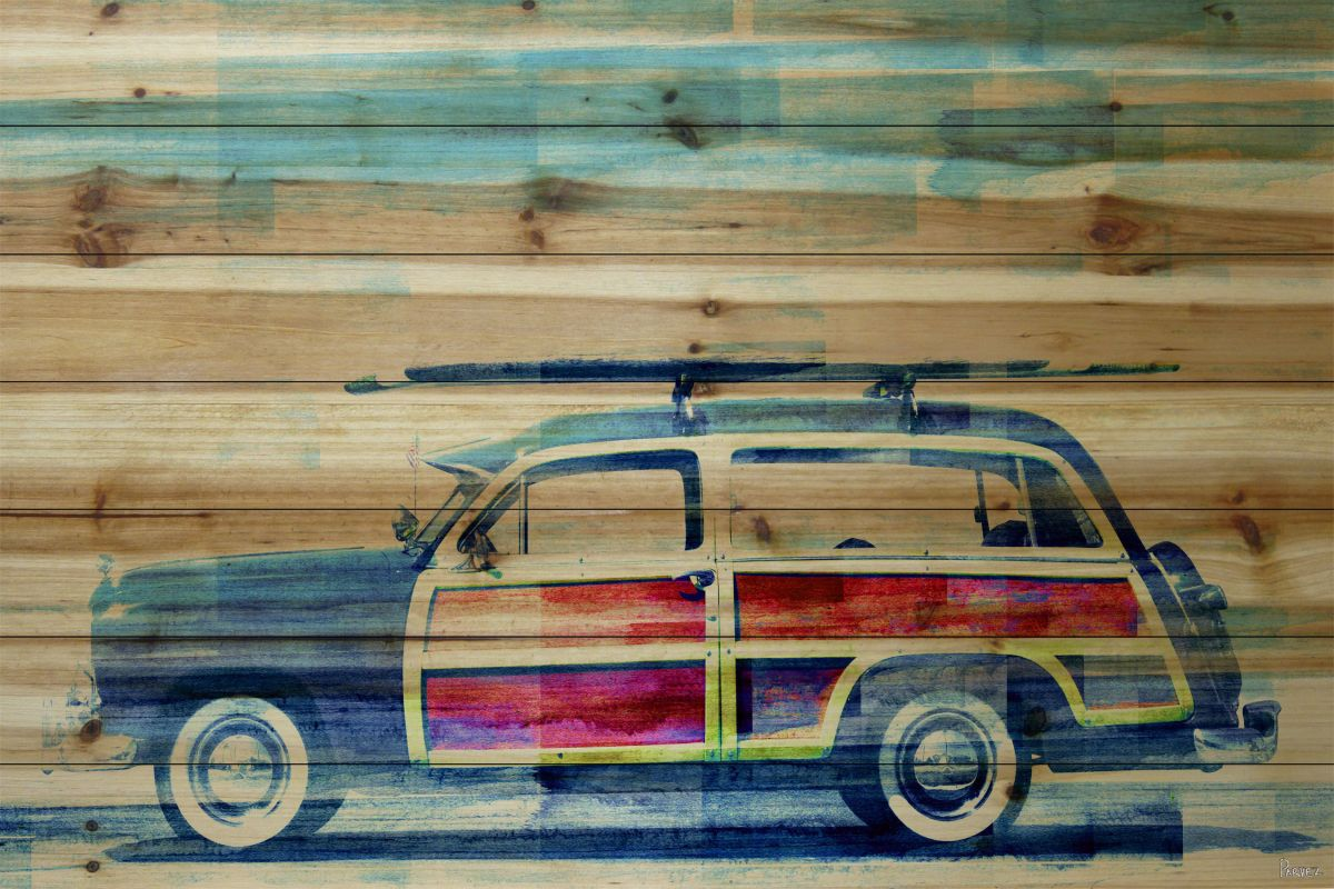 Parvez Taj Surf Day - Pine Wood Art Print on Natural Pine Wood 30 x 45