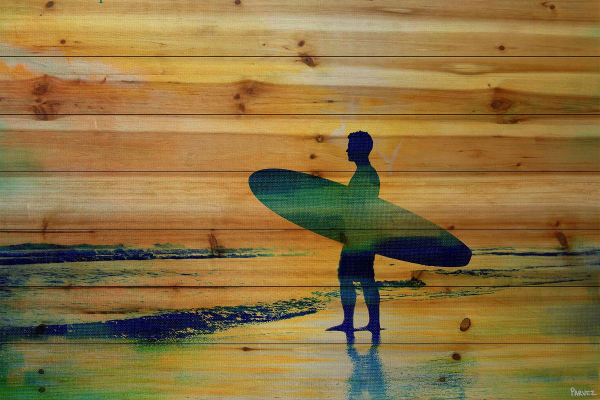 Parvez Taj Dusk Surf Print on Natural Pine Wood Wood Art Printed on