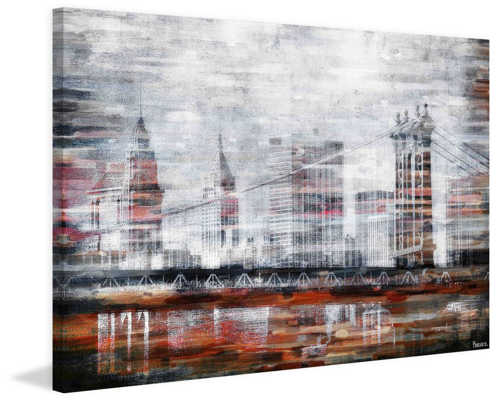 Parvez Taj Brooklyn Bridge View Print on Canvas Art Print on Premium