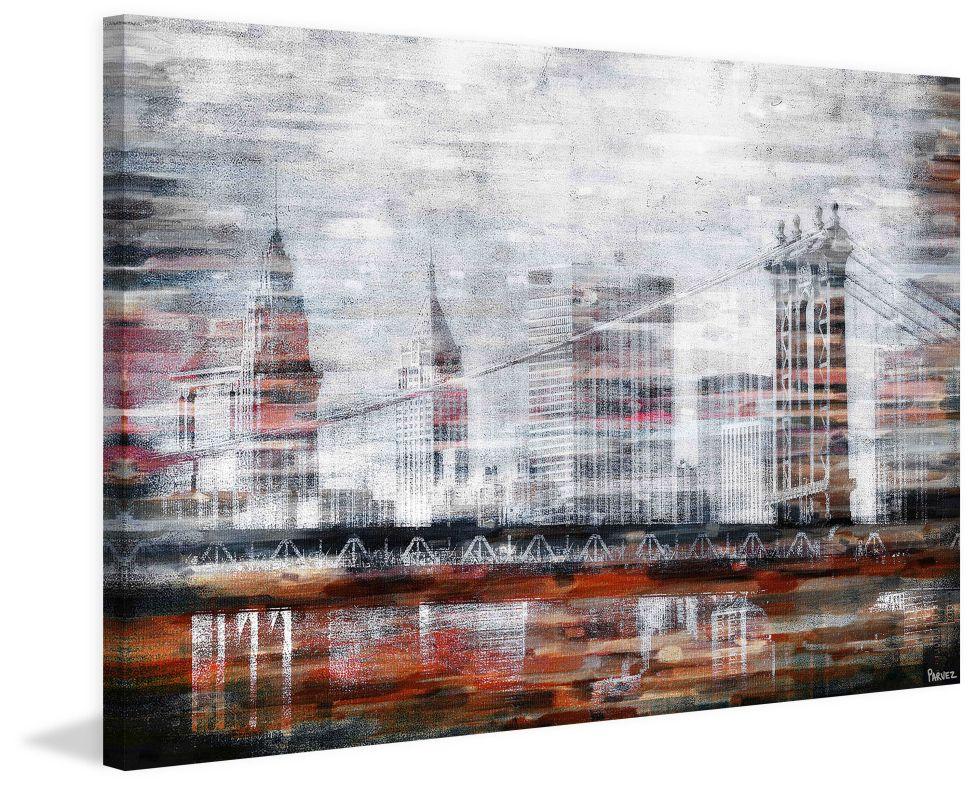 Parvez Taj Brooklyn Bridge View Print on Canvas Art Print on Premium