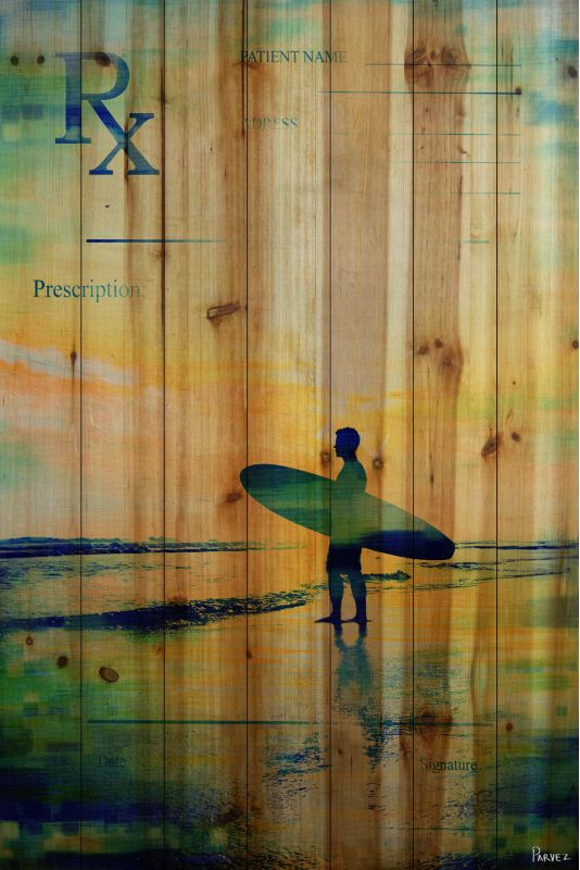 Parvez Taj RX Surf 2 Art Print on Natural Pine Wood 60 x 40 Home Decor