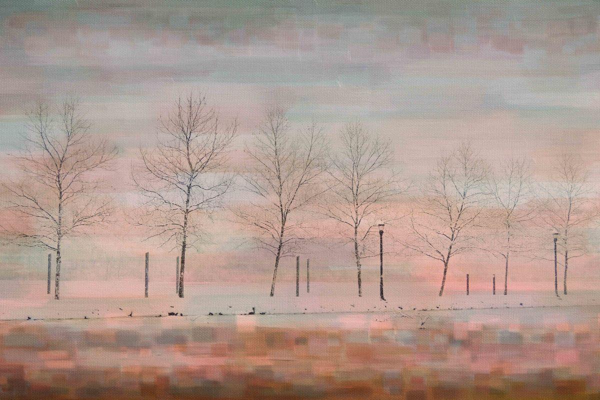 Parvez Taj Pink Horizon Art Print on Premium Canvas 12 x 18 Home Decor