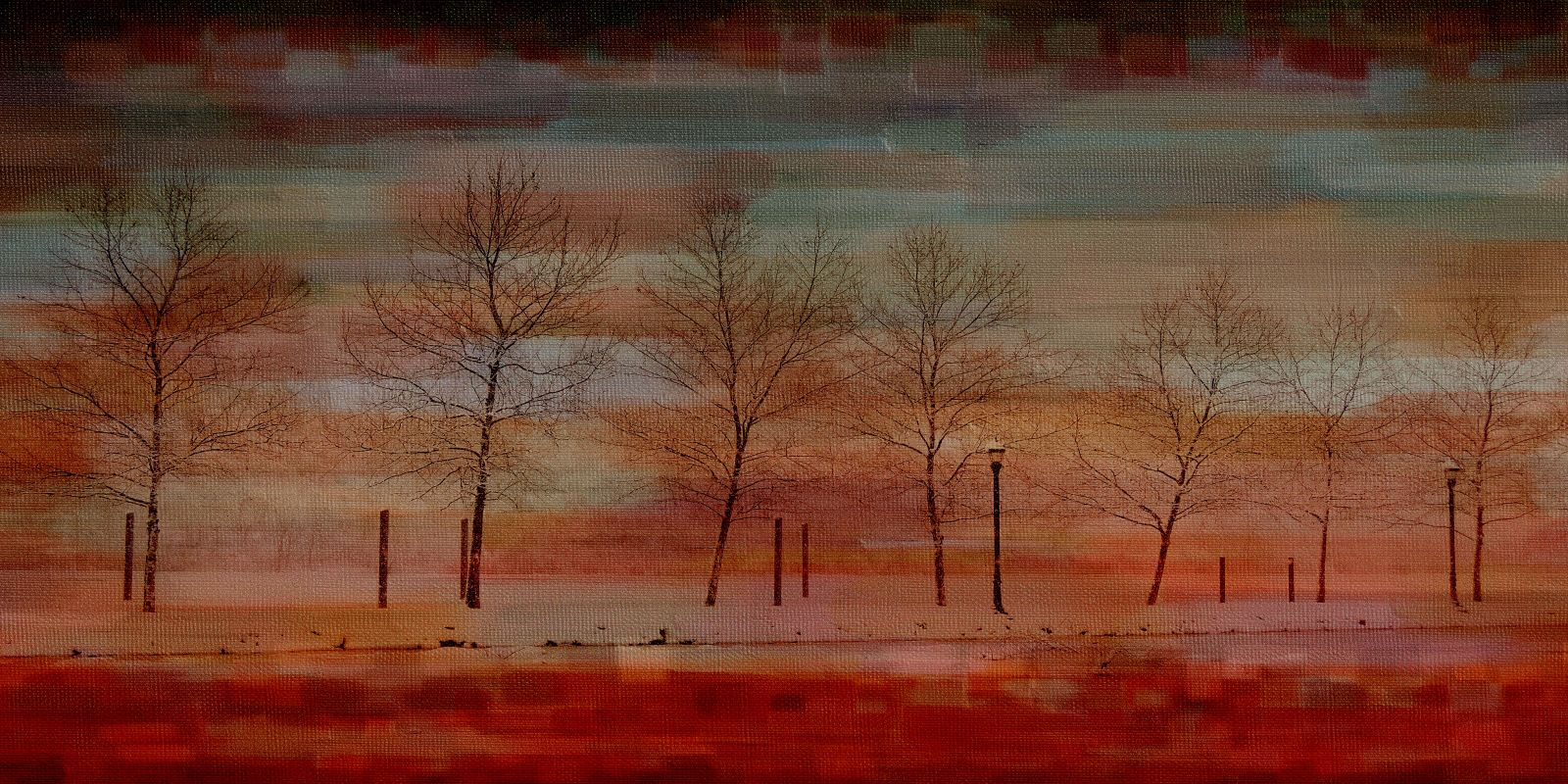 Parvez Taj Deep Red View Art Print on Premium Canvas 12 x 24 Home