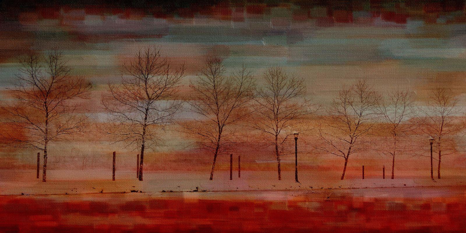 Parvez Taj Deep Red View Art Print on Premium Canvas 18 x 36 Home
