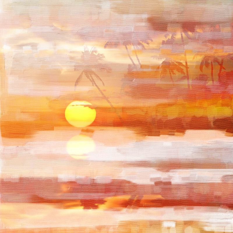Parvez Taj Glowing Sunset Art Print on Premium Canvas 24 x 24 Home