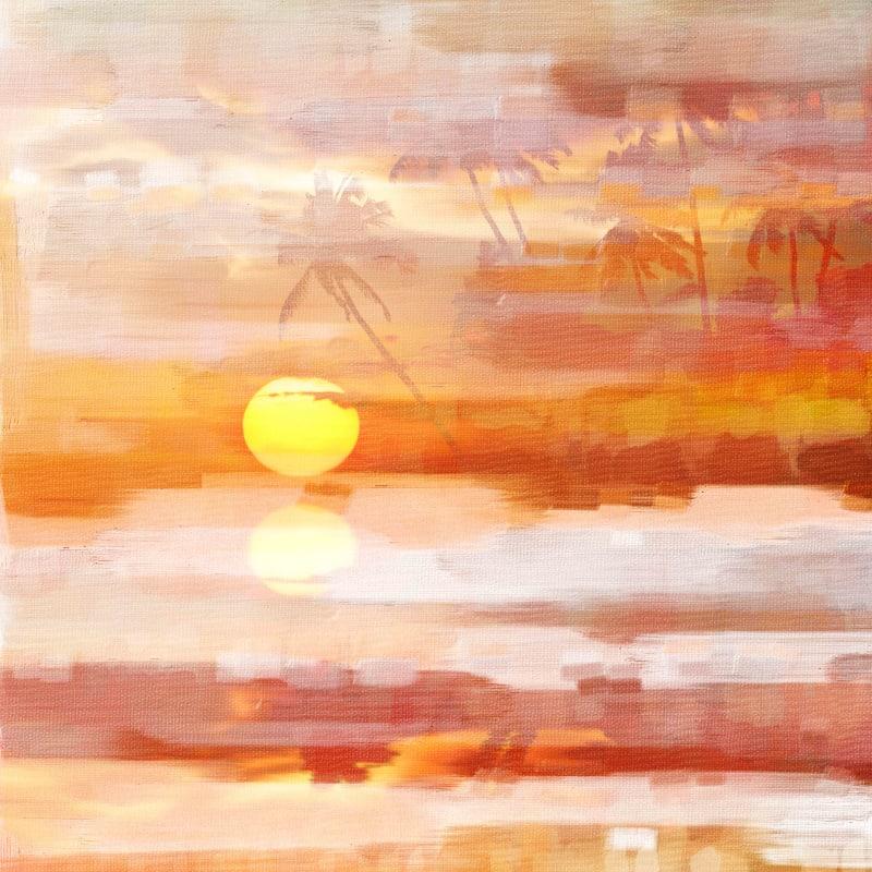 Parvez Taj Glowing Sunset Art Print on Premium Canvas 32 x 32 Home