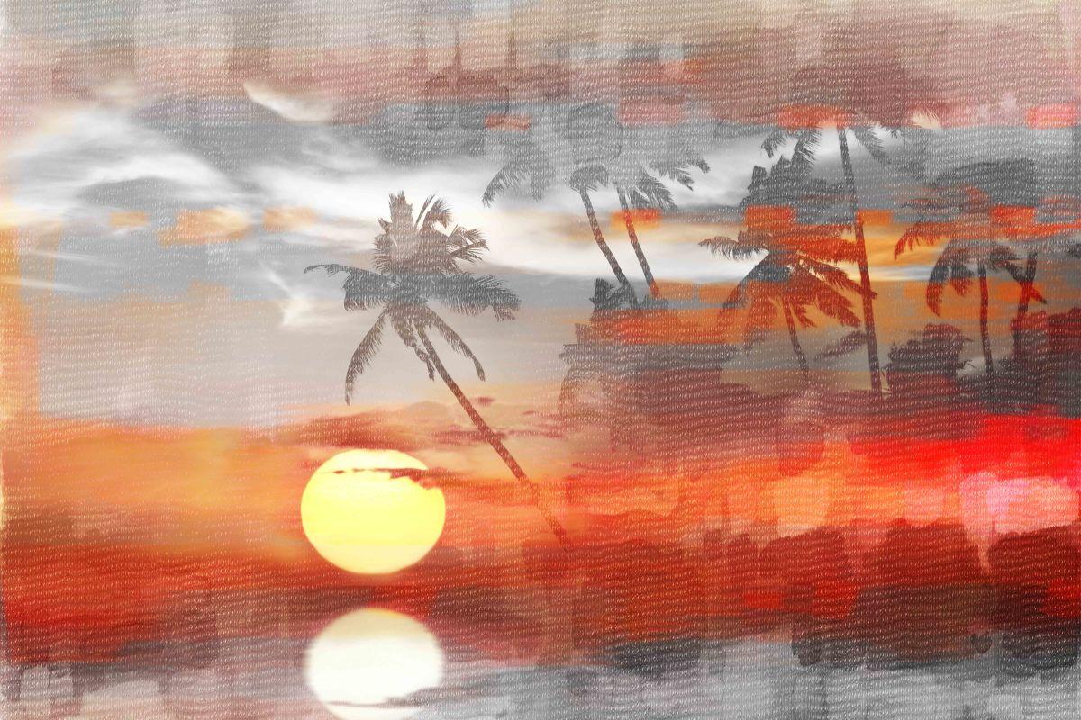 Parvez Taj Reflective Sun Art Print on Premium Canvas 12 x 18 Home