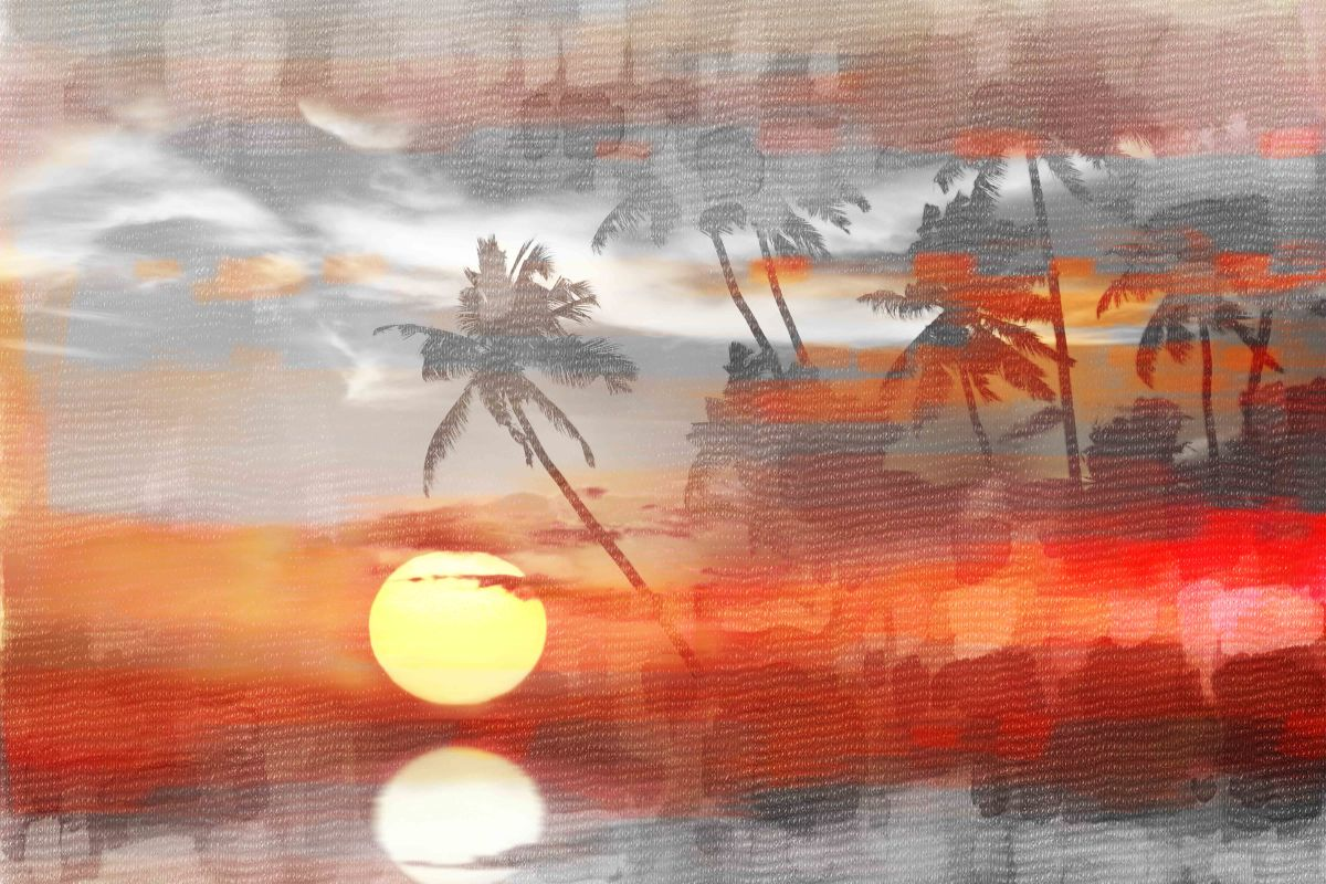 Parvez Taj Reflective Sun Art Print on Premium Canvas 24 x 36 Home