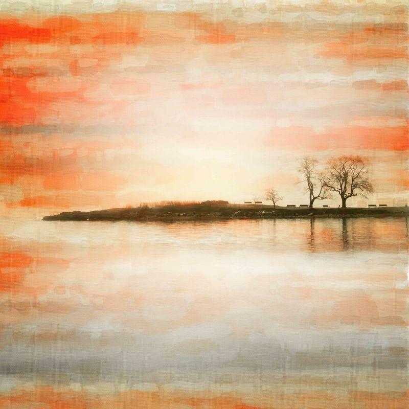Parvez Taj Lake Benches Art Print on Premium Canvas 18 x 18 Home Decor