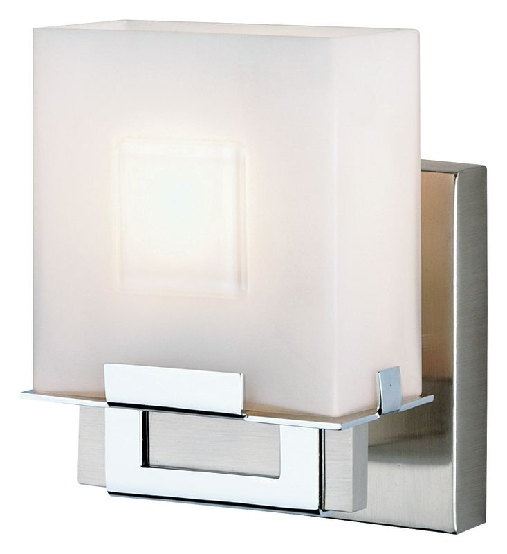 Philips F442036NV Square 1 Light Bathroom Wall Sconce Satin Nickel