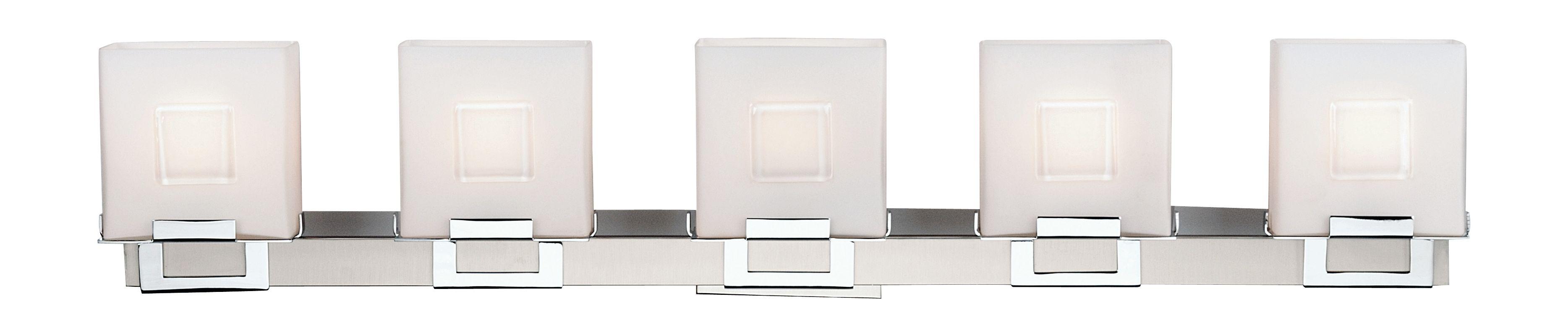Philips F442336NV Square 5 Light Bathroom Vanity Light Satin Nickel