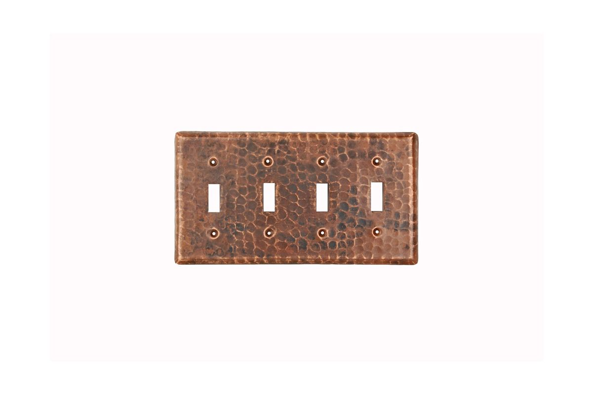 Premier Copper Products ST4 Copper Switchplate Quadruple Toggle Switch