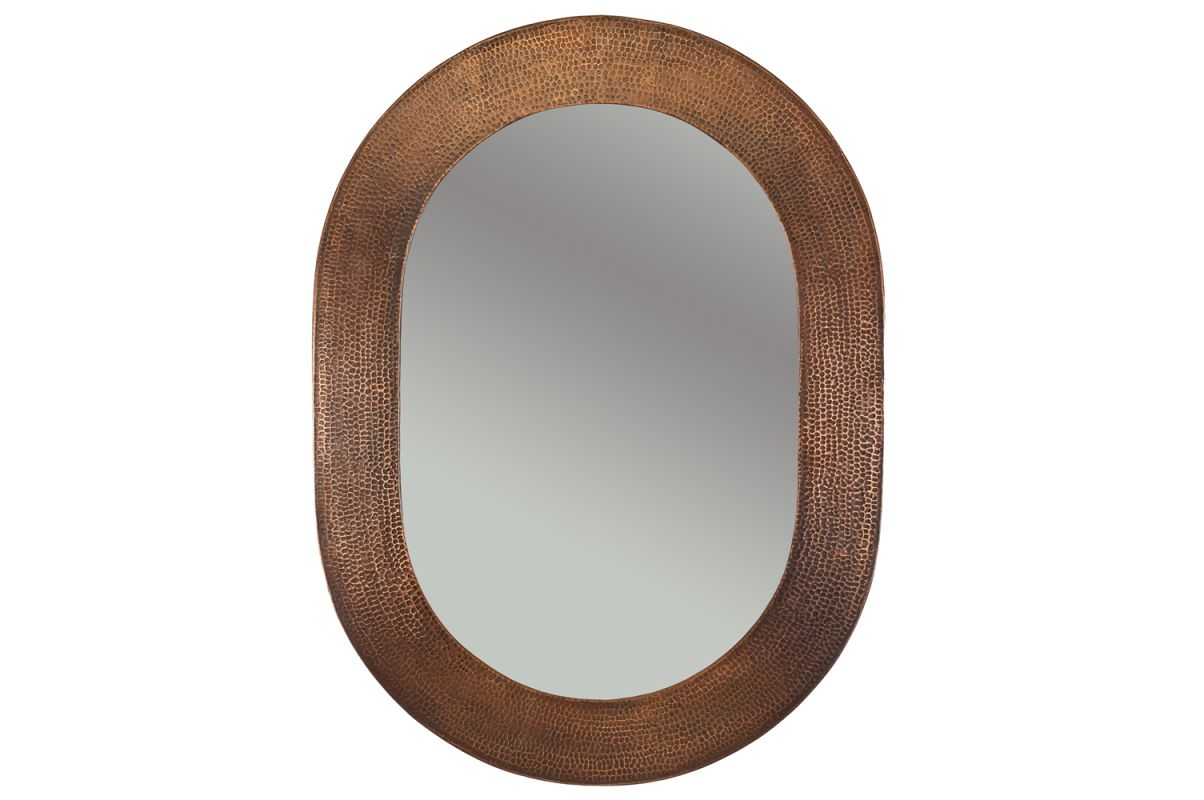 "Premier Copper Products MFO3526 34"" Oval Hand Hammered Copper Mirror"