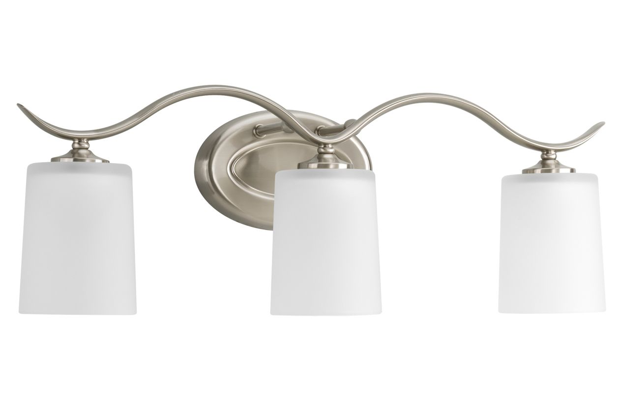Progress Lighting Lucky Collection 4 Light Brushed Nickel: Progress Lighting P2020-09 Brushed Nickel Inspire Three