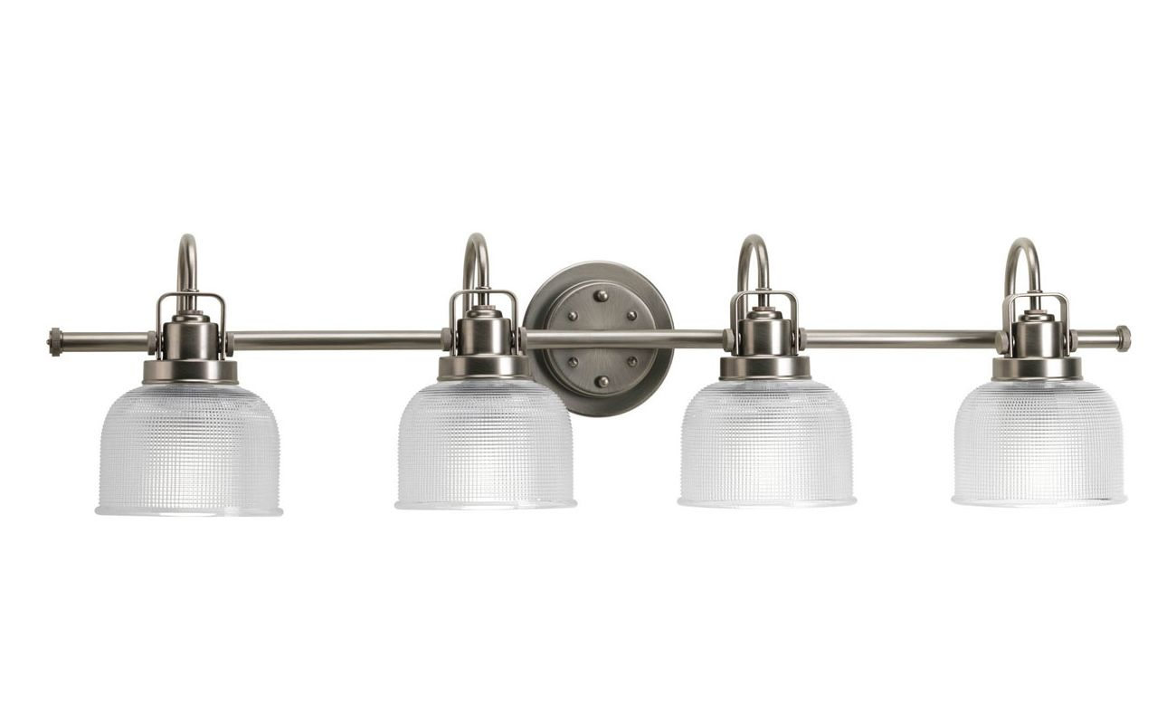 Progress Lighting Lucky Collection 4 Light Brushed Nickel: Progress Lighting P2997-81 Antique Nickel Archie Four