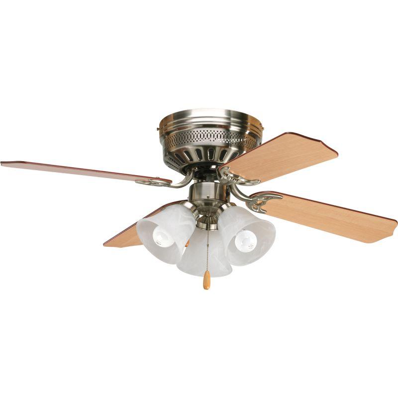 lighting brushed nickel hugger 42 4 blade flush mount ceiling fan. Black Bedroom Furniture Sets. Home Design Ideas