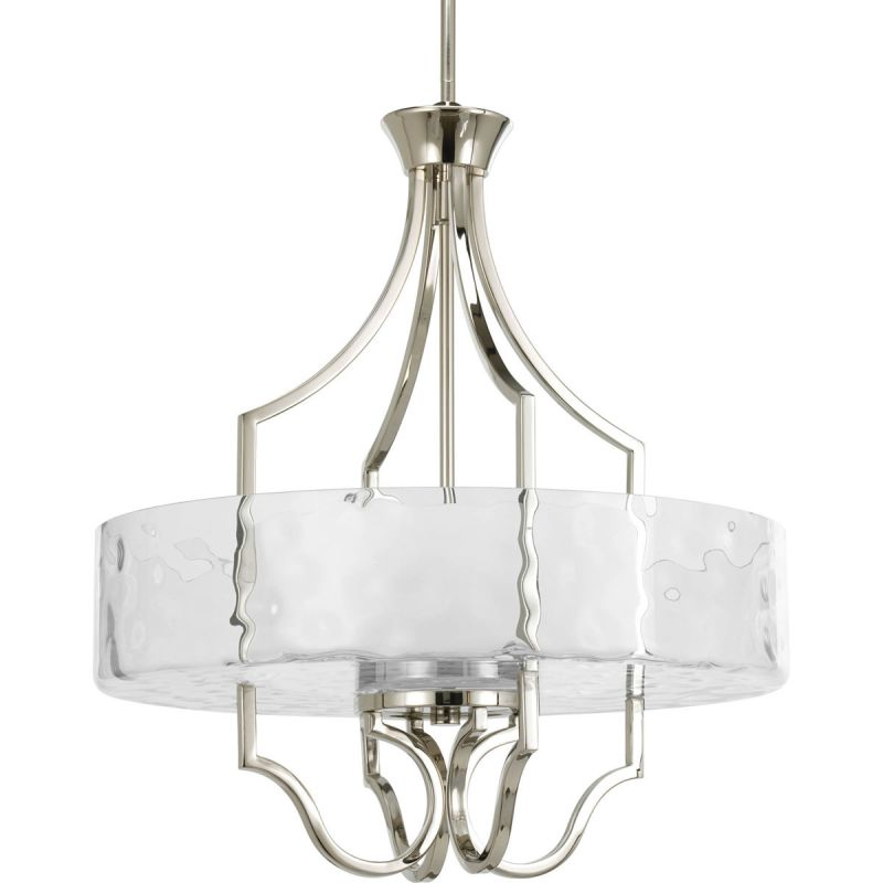 Progress Lighting P3682 Caress 3 Light Cylinder Pendant with Etched