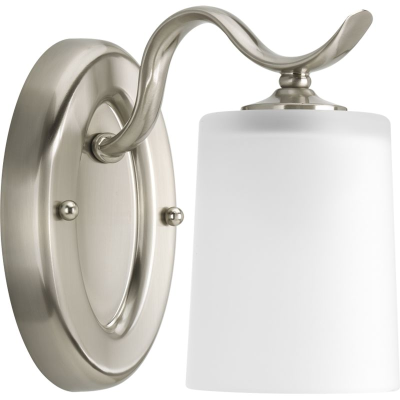 Progress Lighting P2018 09 Brushed Nickel Inspire Single Light Bathroom Sconce