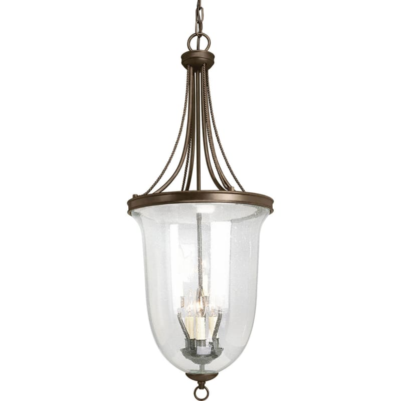 Progress Lighting P3754 20 Antique Bronze Seeded Glass Series Six Light Foyer