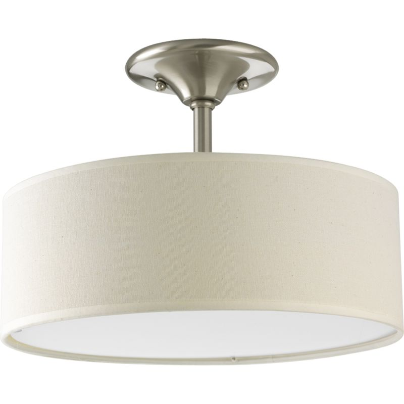 ... Light Semi-Flush Ceiling Fixture with Off-White Linen Fabric Drum