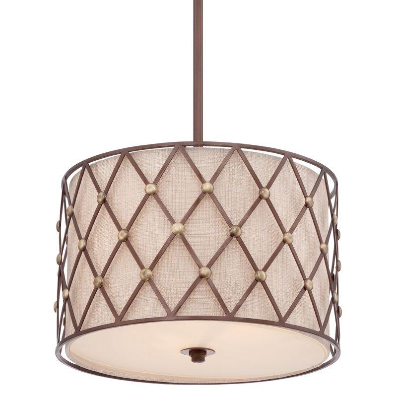 Quoizel BWL2816 Brown Lattice 3 Light Drum Pendant with Fabric Shade