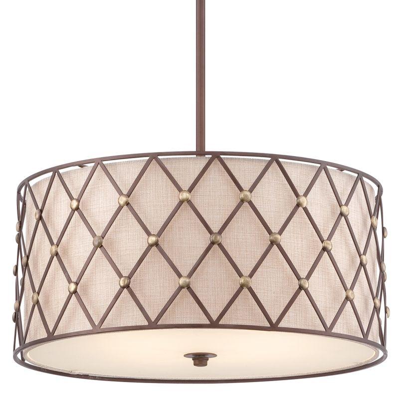 Quoizel BWL2822 Brown Lattice 4 Light Drum Pendant with Fabric Shade