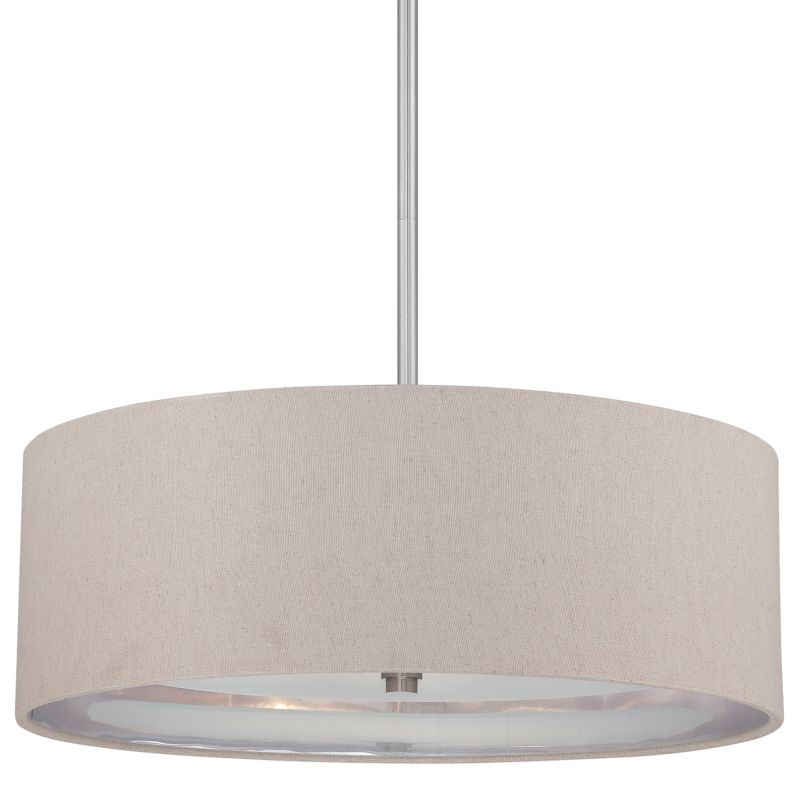 Quoizel CKMO2820 Metro 3 Light Drum Pendant with Fabric Shade Brushed