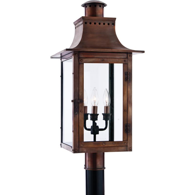 "Quoizel CM9012 Chalmers 3 Light 26"" Tall Post Lantern with Clear Glass"