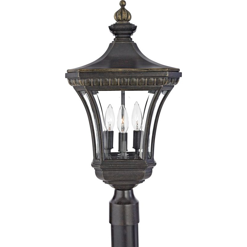 "Quoizel DE9256 Devon 3 Light 23"" Tall Post Lantern with Clear Glass"