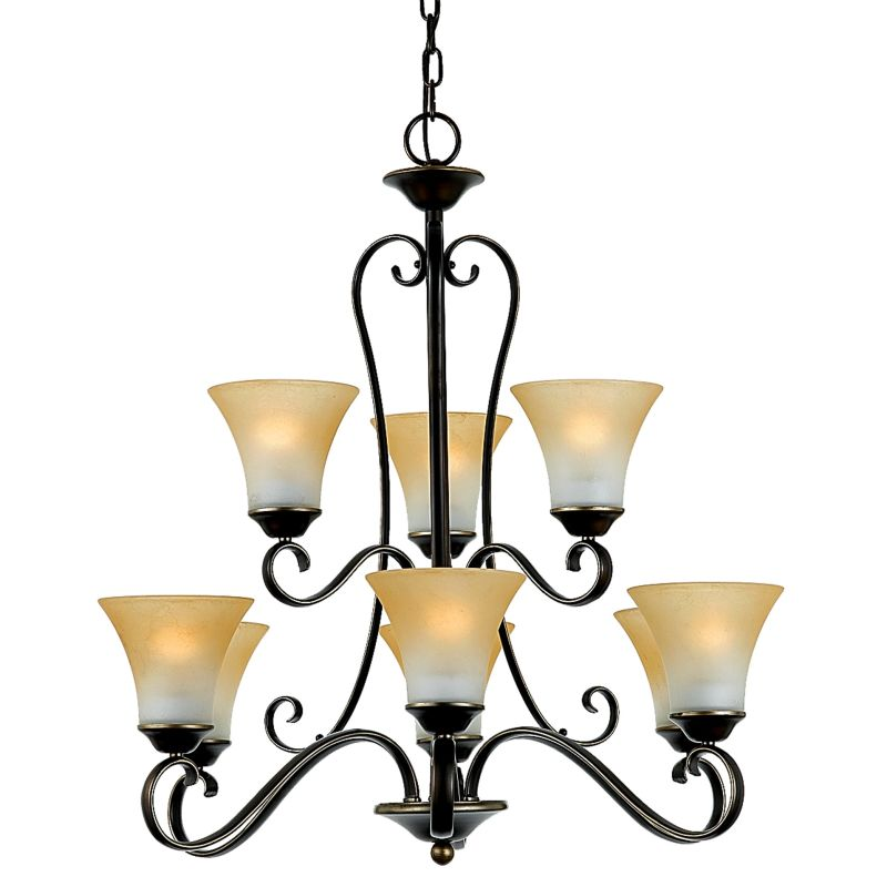 """Quoizel DH5009 Duchess 9 Light 2 Tier 31"""" Wide Chandelier with Grey"""