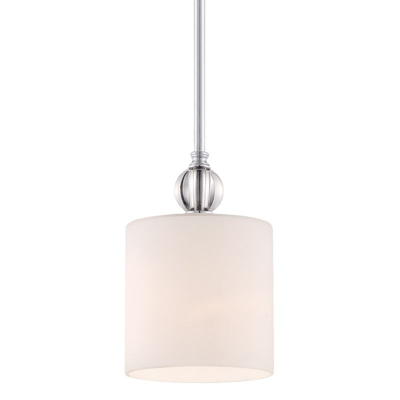 Quoizel DW1506 Downtown 1 Light Mini Pendant with Glass Shade Polished