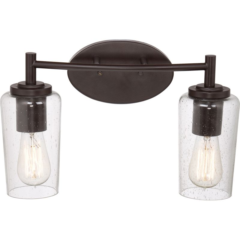 Quoizel Eds8602wt Western Bronze Edison 2 Light 16 Wide Reversible Bathroom Vanity Light With