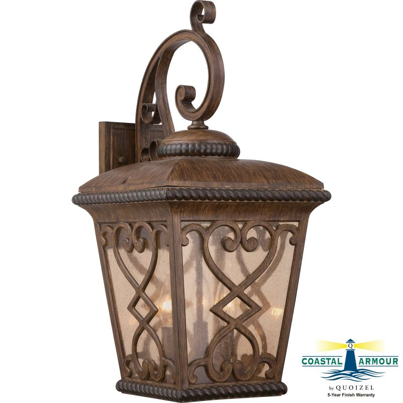 Quoizel FQ8411 Fort Quinn 3 Light Outdoor Wall Sconce Antique Brown