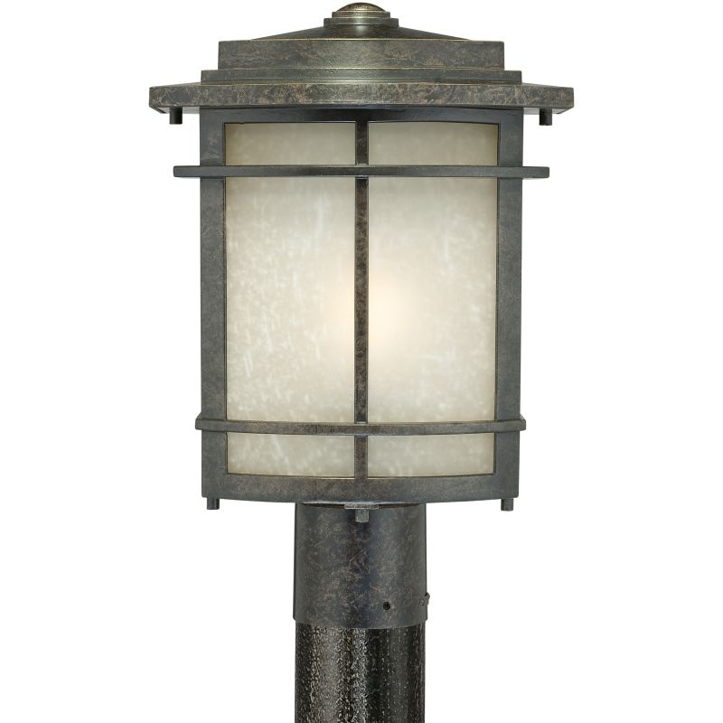 "Quoizel GLN9010 Galen 1 Light 15"" Tall Post Lantern with Umber Linen"