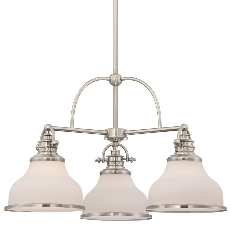 "Quoizel GRT5103 Grant 3 Light 24"" Wide Chandelier Brushed Nickel"