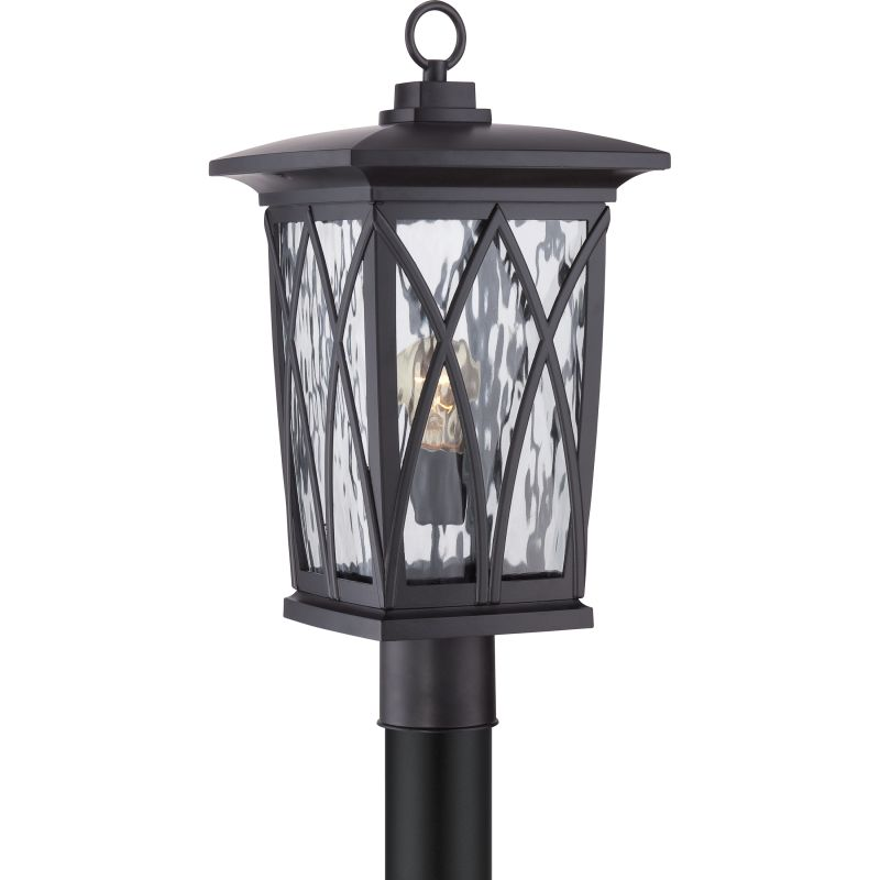 Quoizel GVR9010 Grover 1 Light Outdoor Post Light Mystic Black Outdoor