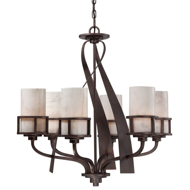 """Quoizel KY5006 Kyle 6 Light 28"""" Wide Chandelier with Onyx Pillar"""