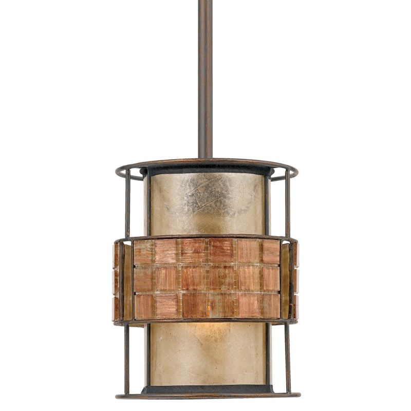 Quoizel MC842P Laguna 1 Light Mini Pendant with Oyster Mica And Mosaic