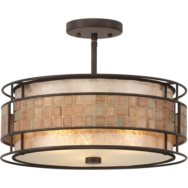 "Quoizel MC842 Laguna 3 Light 16"" Wide Semi-Flush Ceiling Fixture with"