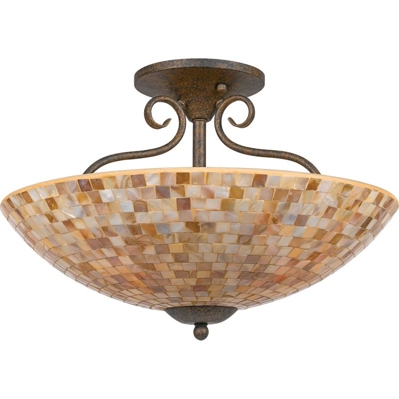 "Quoizel MY1718 Monterey Mosaic 4 Light 18"" Wide Semi-Flush Ceiling"