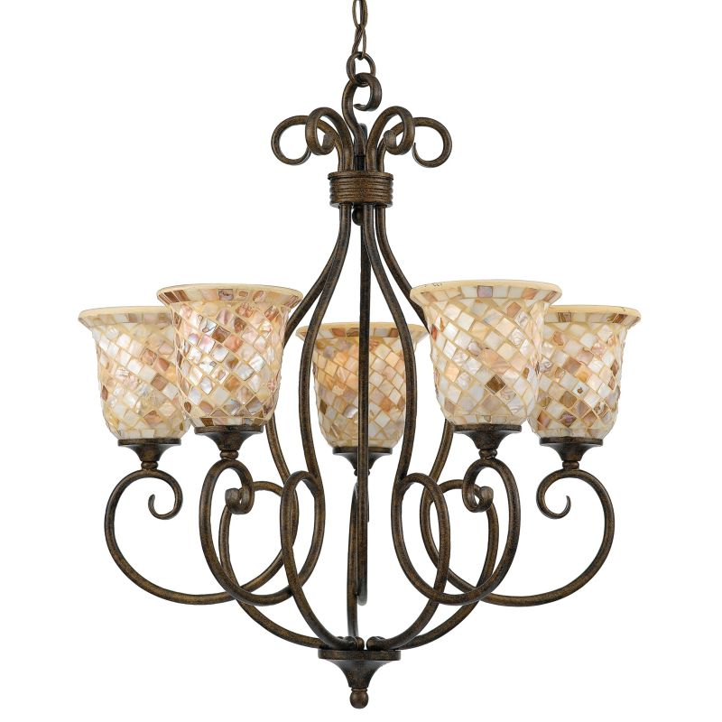 "Quoizel MY5005 Monterey Mosaic 5 Light 25"" Wide Chandelier with Pen"