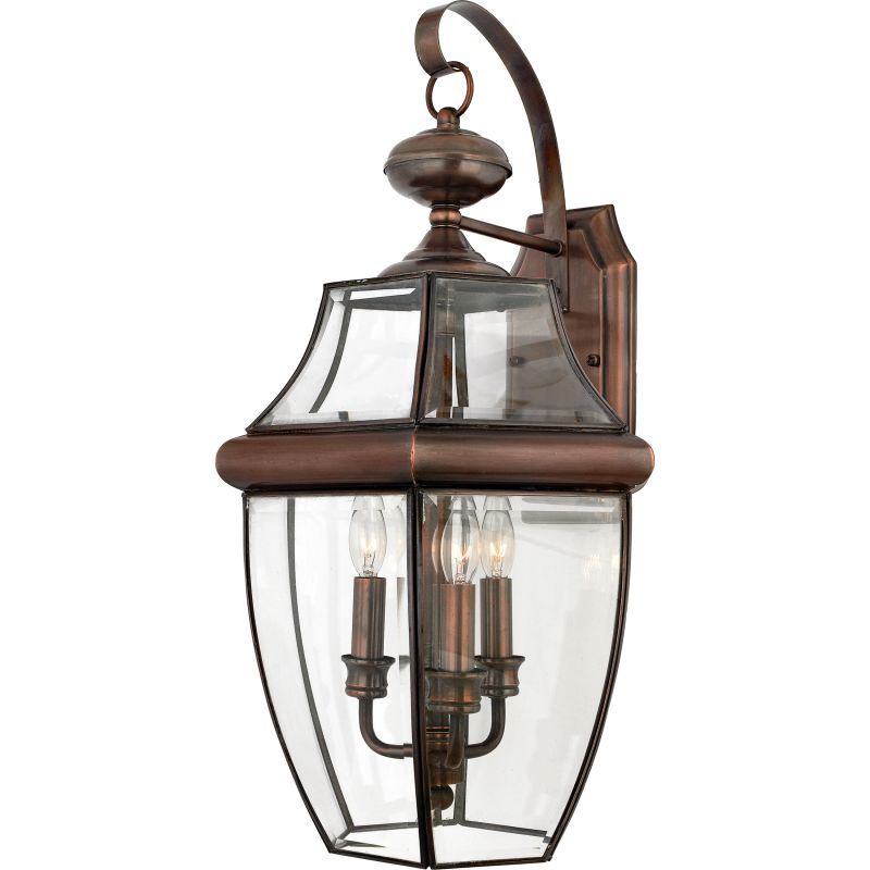 Copper Wall Sconces Outdoor : Quoizel NY8318AC Aged Copper Newbury 3 Light 23