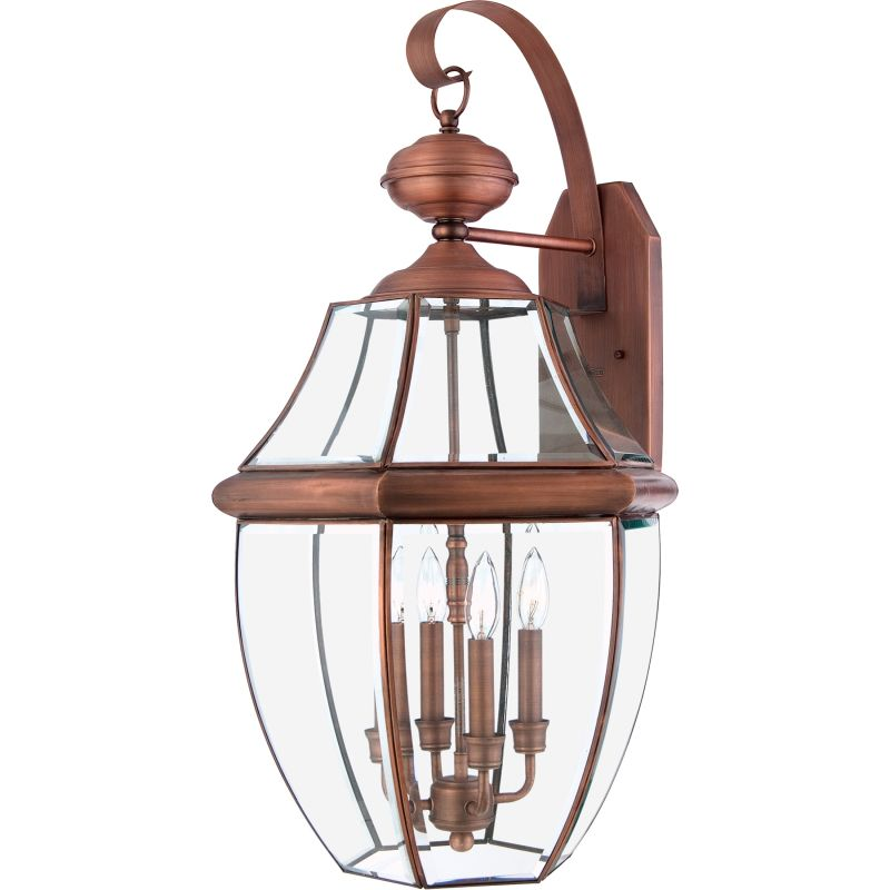 "Quoizel NY8339 Newbury 4 Light 29"" Tall Outdoor Wall Sconce with Clear"
