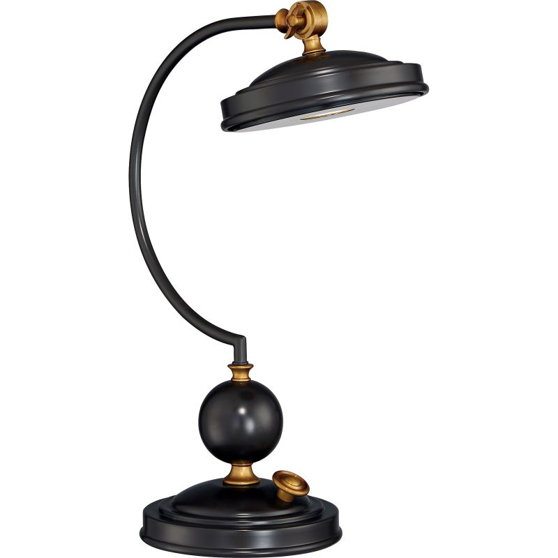 """Quoizel Q2125T Signature 1 Light 15"""" Wide Gooseneck Desk Lamp with"""