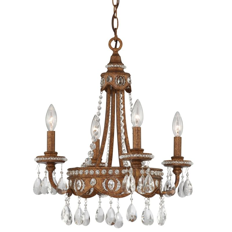 """Quoizel QMC404 Signature 4 Light 18"""" Wide Mini Chandelier with Crystal"""