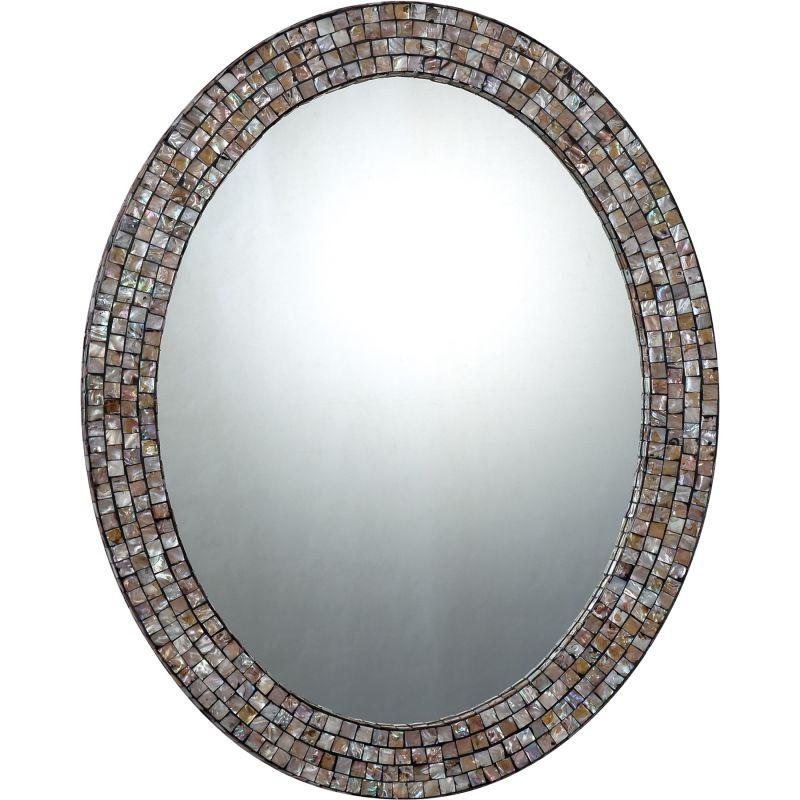 "Quoizel QR1253 Reflections 30"" x 24"" Oval Decorative Mirror Pen Shell"