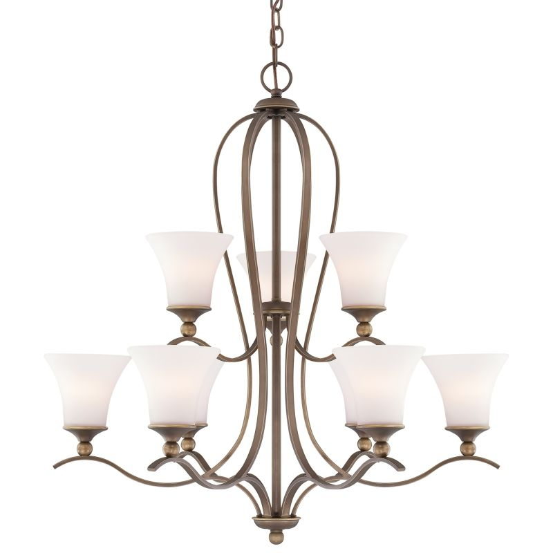 "Quoizel SPH5009 Sophia 9 Light 2 Tier 32"" Wide Chandelier with Etched"