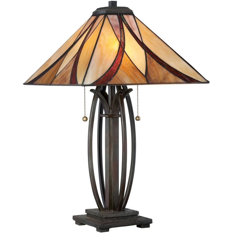 "Quoizel TF1180T Asheville 2 Light 25"" Tall Table Lamp with Tiffany"