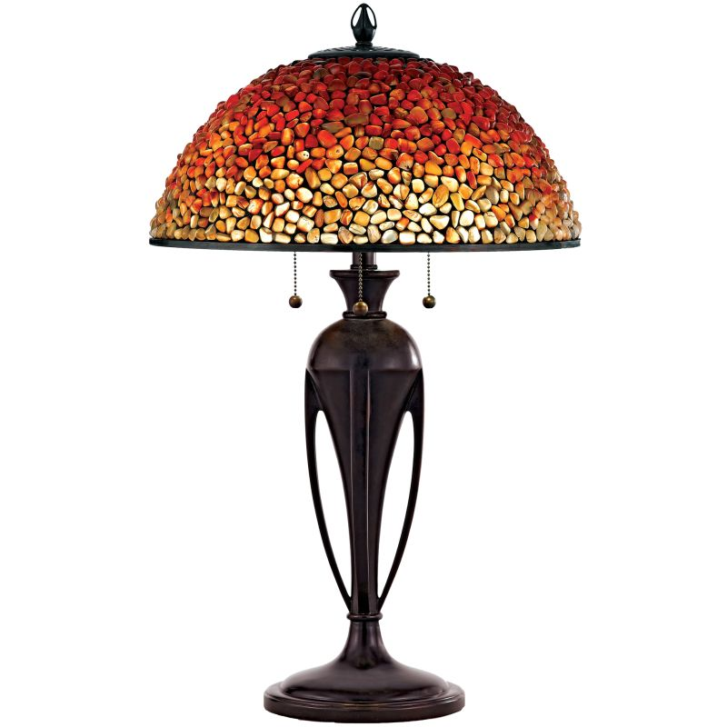 "Quoizel TF135T Pomez 3 Light 30"" Tall Table Lamp with Agate Stone"